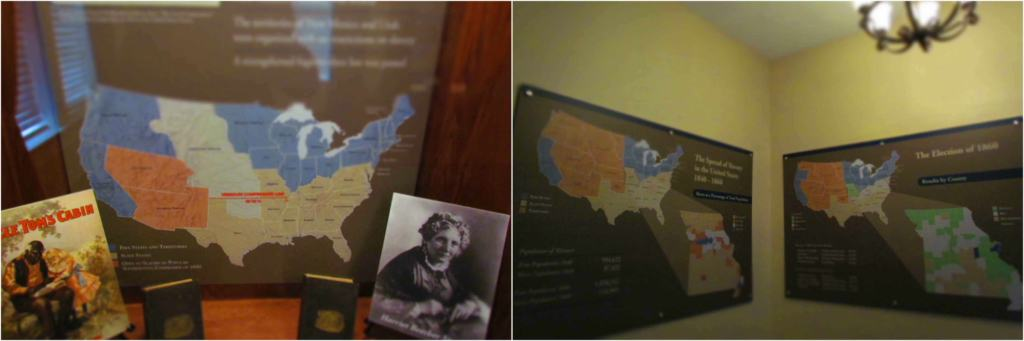 Informational panels describe facts about the election period at the start of the Civil War.