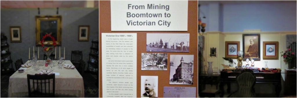 An exhibit shows many of the artifacts related to the victorian period in Joplin, Missouri.