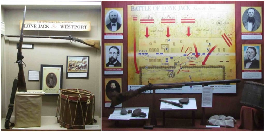 Displays at the Lone Jack Civil War Museum detail the battles fought at Westport and Lone Jack.