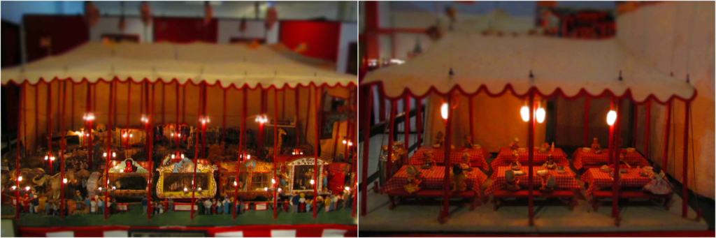 """The circus display has a series of little """"big tops"""" for visitors to examine."""