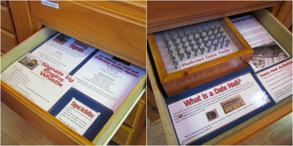 Drawers open to reveal information about railroads.