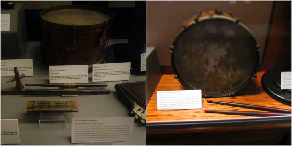 Drummer boys equipment is on display at the museum.