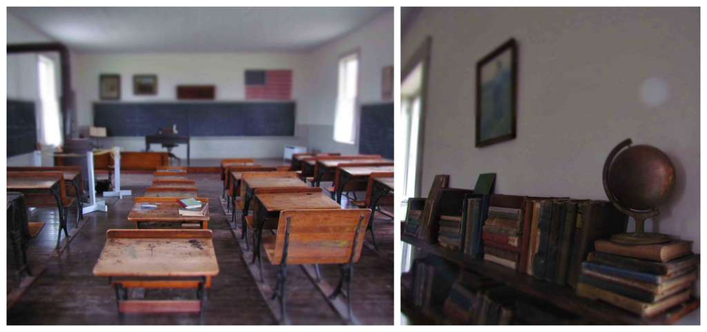 An old one-room schoolhouse shows how classes were held in small towns all across the country.