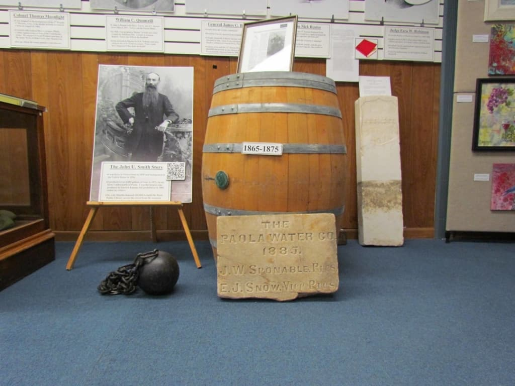 A display tells the story of Miami County's first wine maker.