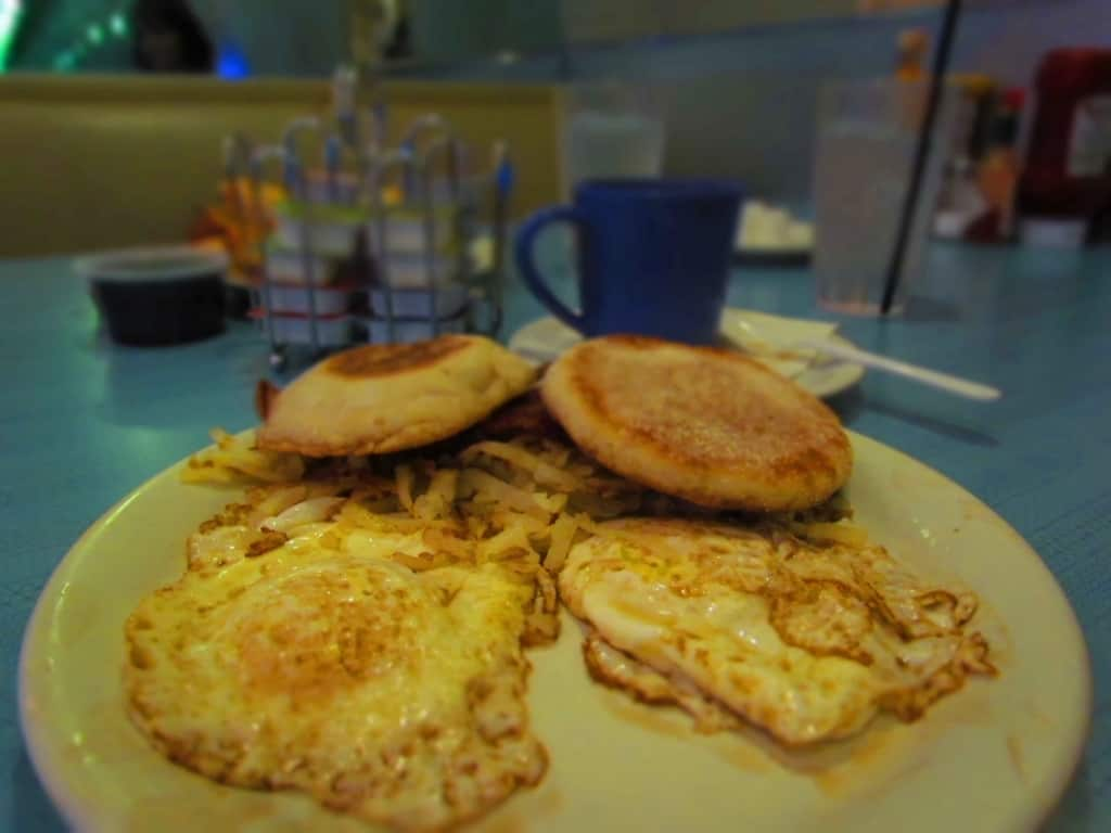 A standard breakfast of eggs, bacon and hash browns can be ordered 24 hours a day.