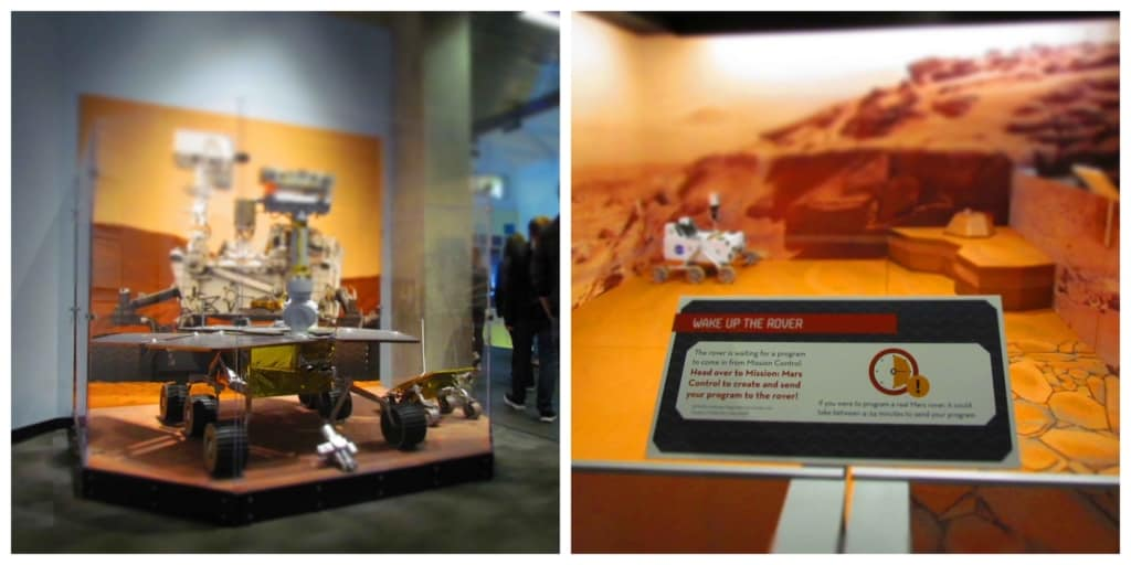 Replicas of the Mars Rover can be programmed by visitors to the St. Louis Science Center.