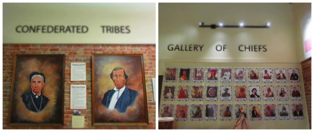 Many of the native tribes are acknowledged in a display of chiefs.