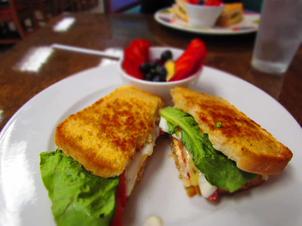 The Grilled Avocado Sandwich is a flavorful combination served on fresh made bread.