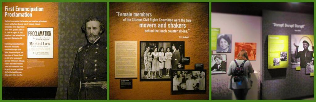 The history of the fight against segregation is highlighted in the various displays.