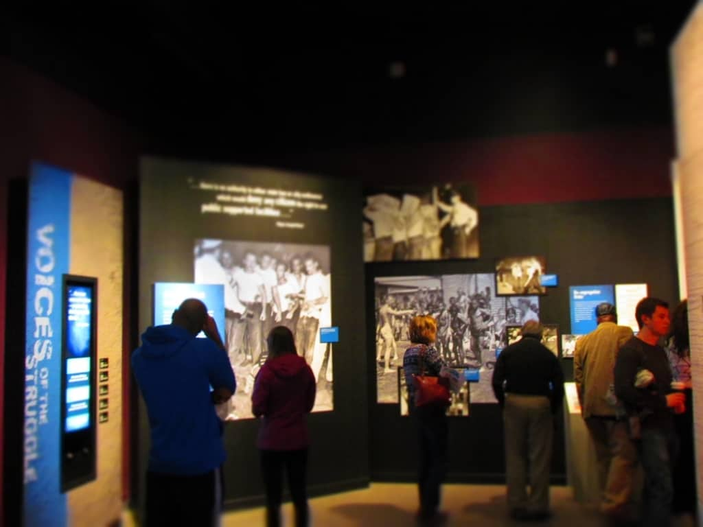 Visitors pause to reflect on the exhibits at the Missouri History Museum.