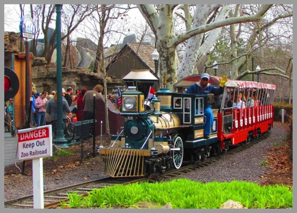 A ride on the miniature train is a great way to see the zoo.