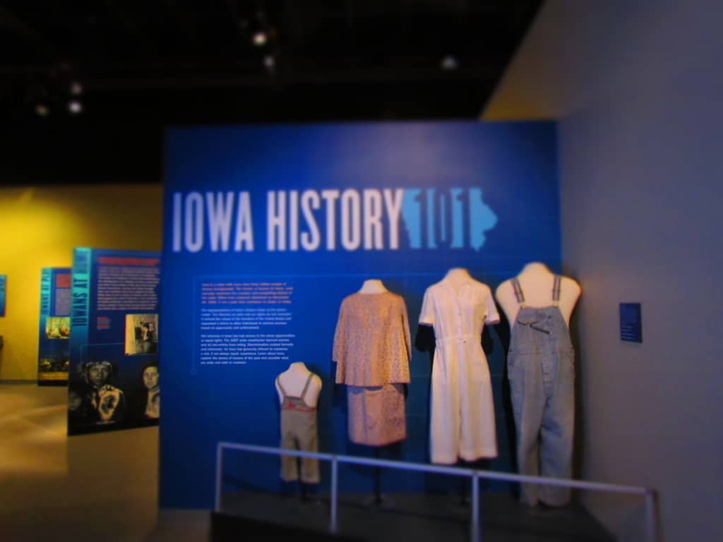 The start of the Iowa History galleries helps educate visitors on the early lifestyles of the state's residents.