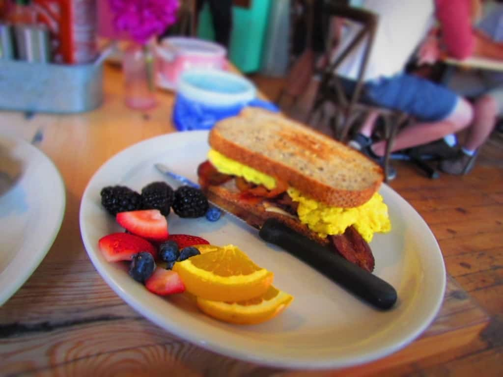The Breakfast Sandwich at Happy Gillis is a filling dish that is packed with protein.