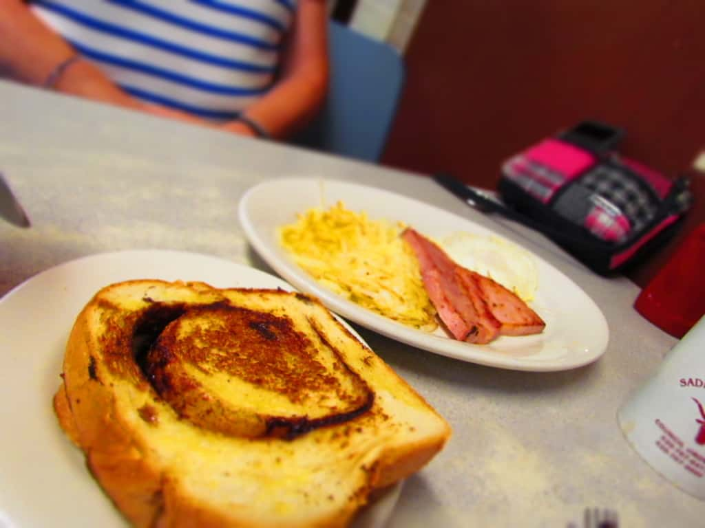 A standard breakfast is made special with flavored bread at Saddlerock Cafe in Council Grove, Kansas.