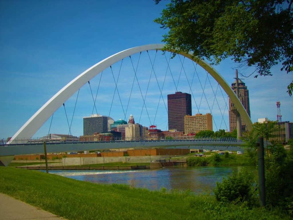 A wonderful view of the Des Moines downtown skyline.