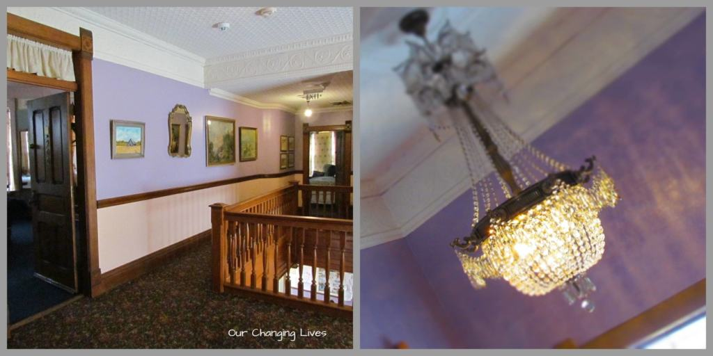 The beautiful woodwork and light fixtures add an extra element of Victorian charm.