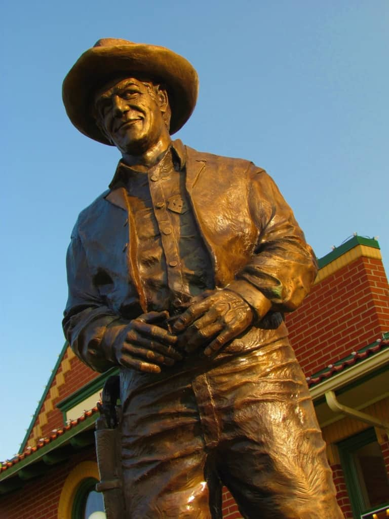 Many statues can be found throughout the downtown area of Dodge City.