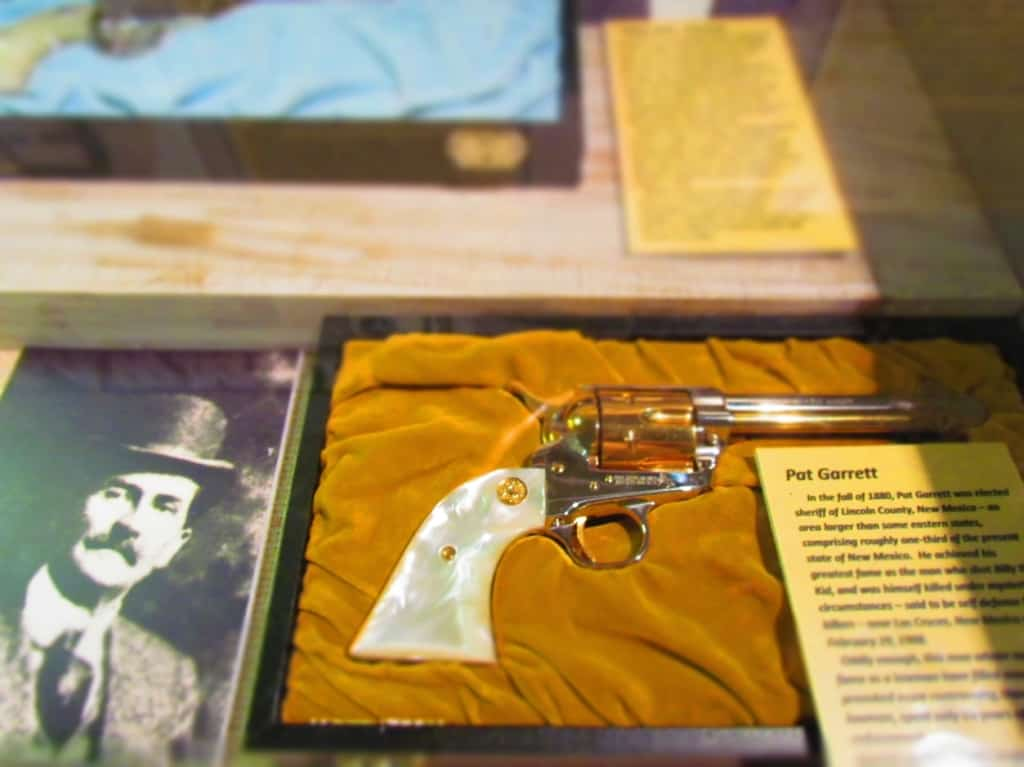 One of Pat Garrett's pistols is displayed at the Dickinson Heritage Center.