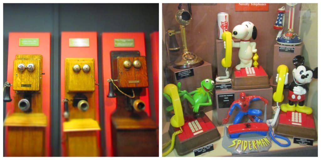 An assortment of old phones help teach the history of telephony.