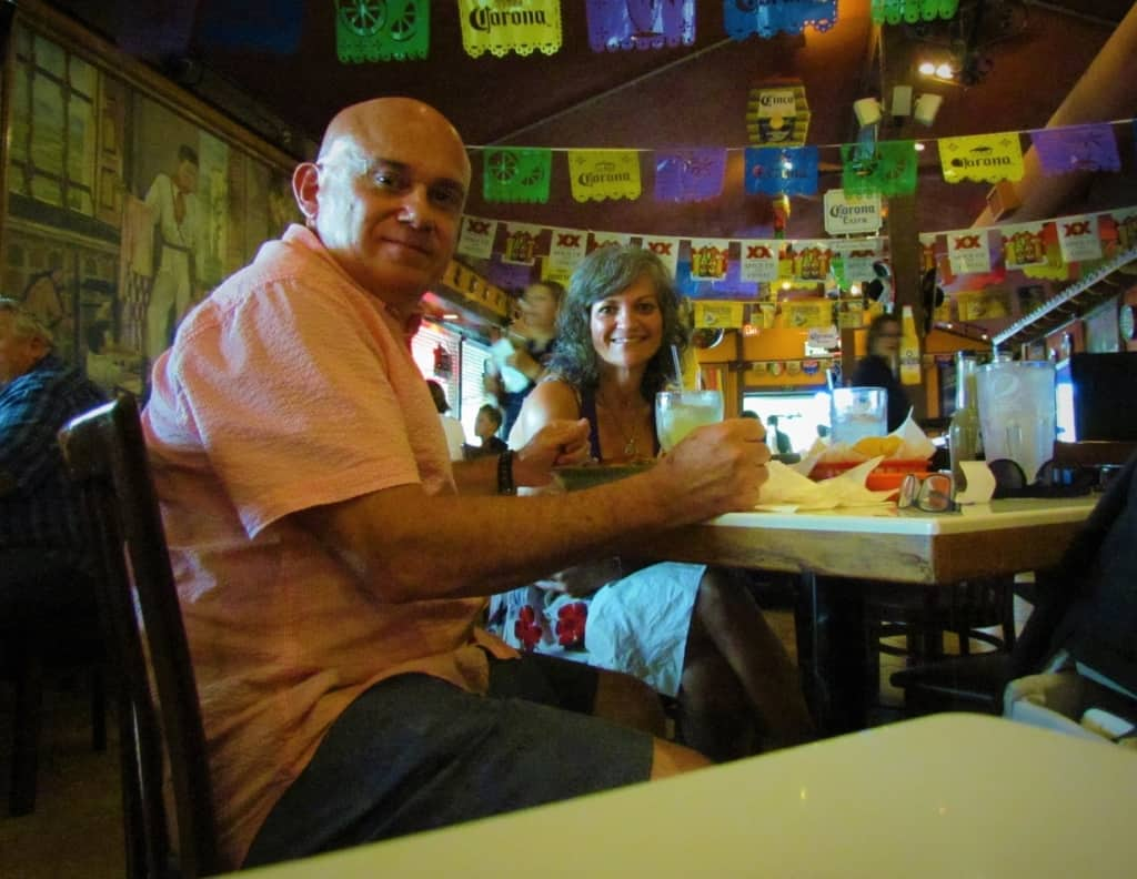 The authors enjoy a meal at Taqueria Mexico.