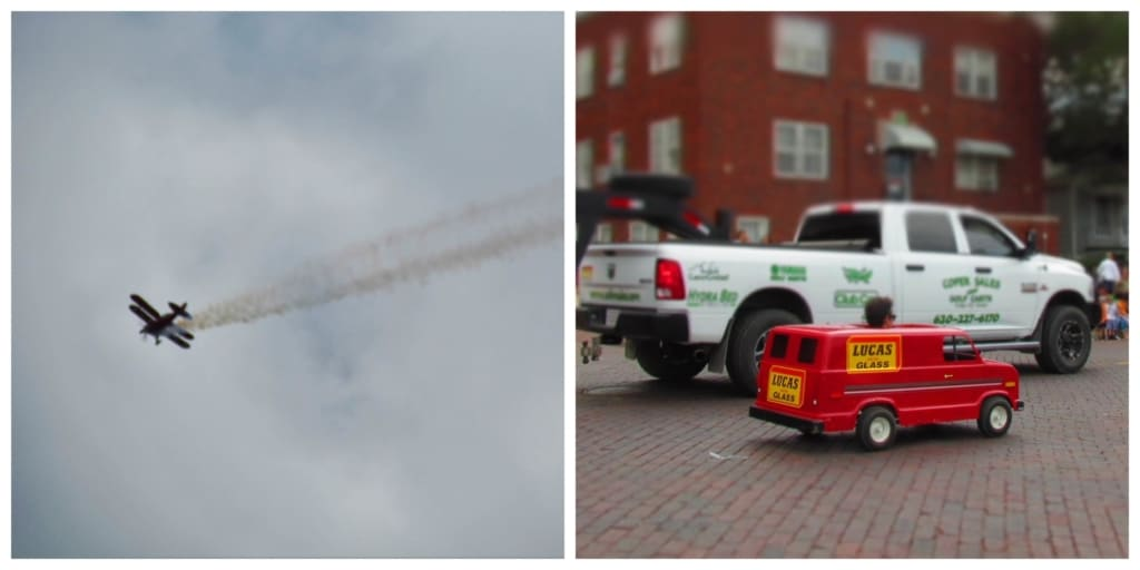 Airplanes and tiny cars are seen at the parade.