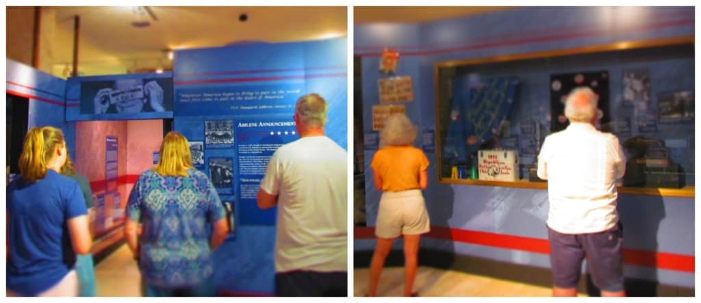 Visitors study the information collected from Eisenhower's political career.