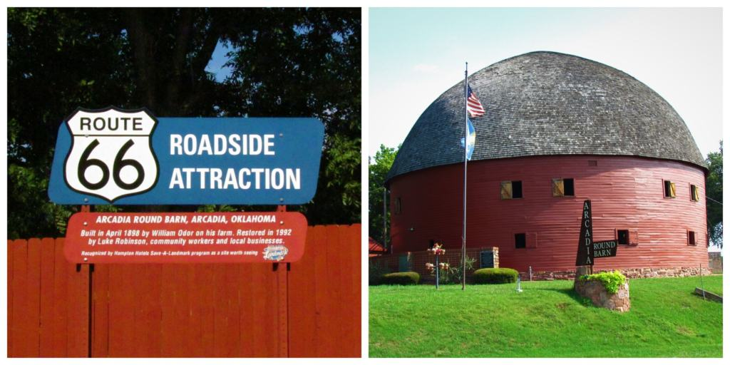 The round barn in Arcadia, Oklahoma is a longtime classic sight on Route 66.