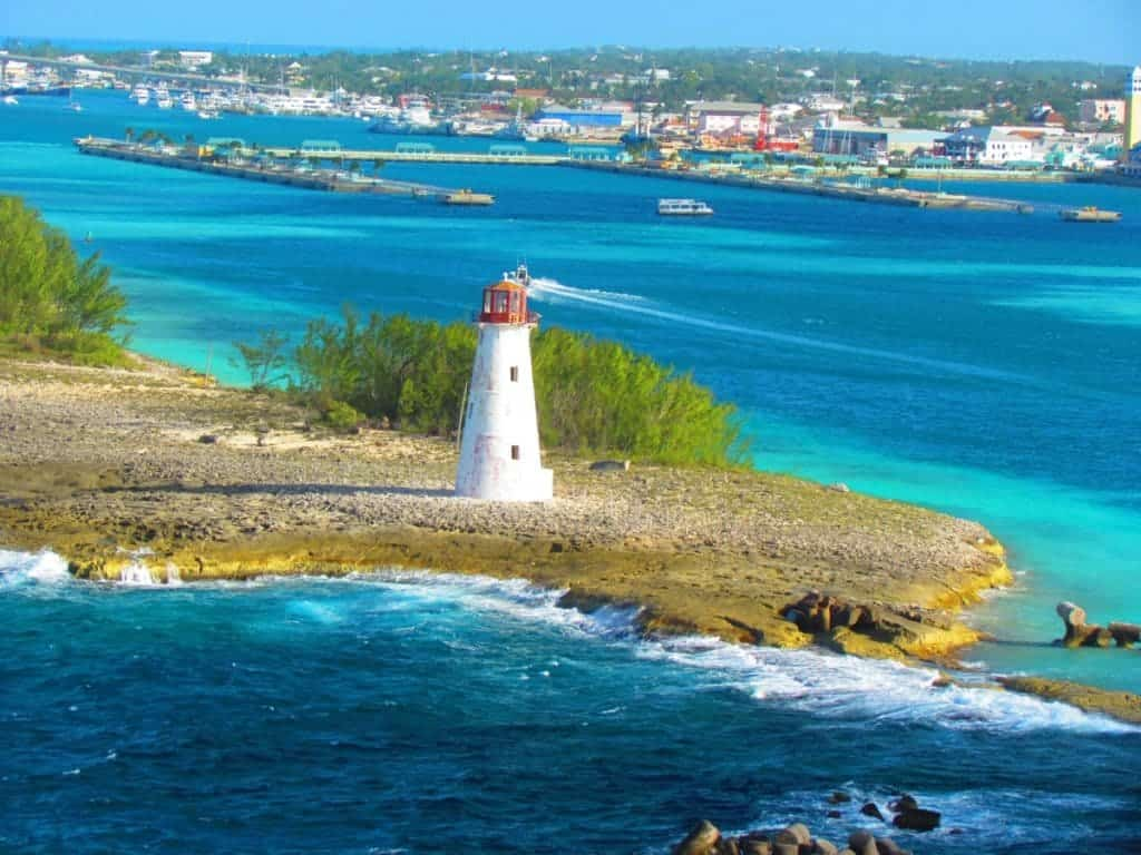 The familiar lighthouse signals the approach to Nassau, Bahamas.
