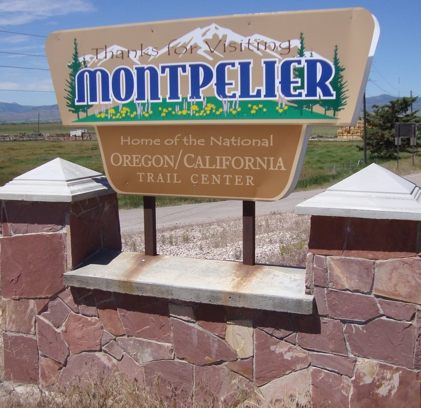 The sign identifies the city of Montpelier, Idaho, which is the home of the National Oregon California Trail Center.