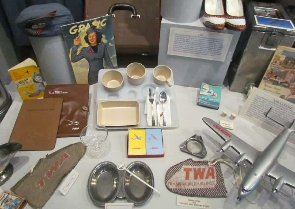 A display shows the items that would have been used during flights in the 1940s.