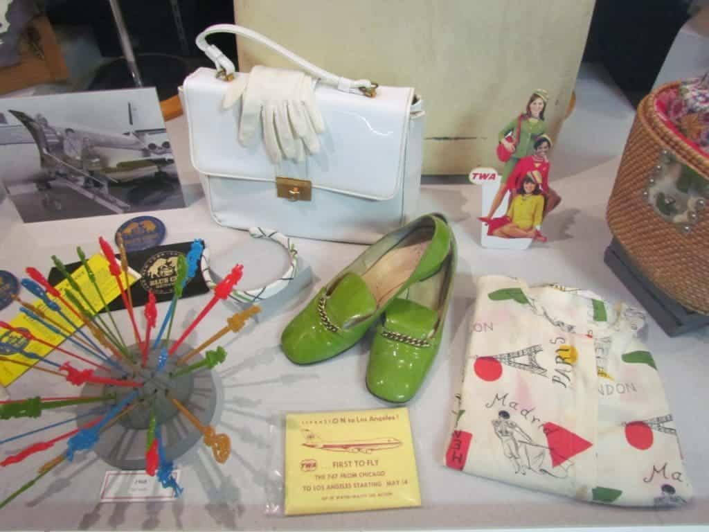 A display highlights the items that would have been used on flights in the 1960's.