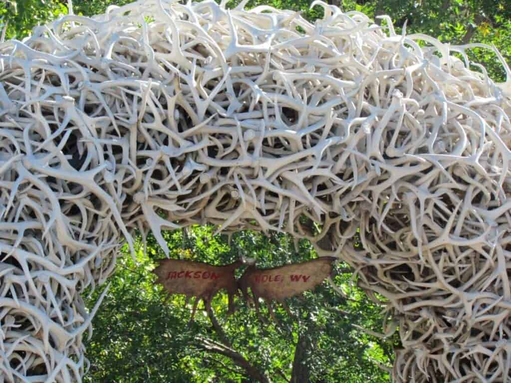 Elk antlers are intertwined to form an arch in a park in Jackson Hole, wyoming.