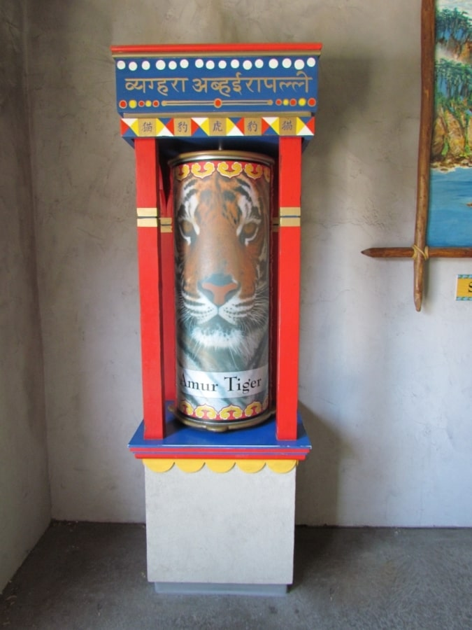 A cylidrical display of an Amur tiger is used as decoration at the Hogle Zoo in Salt Lake City, Utah.