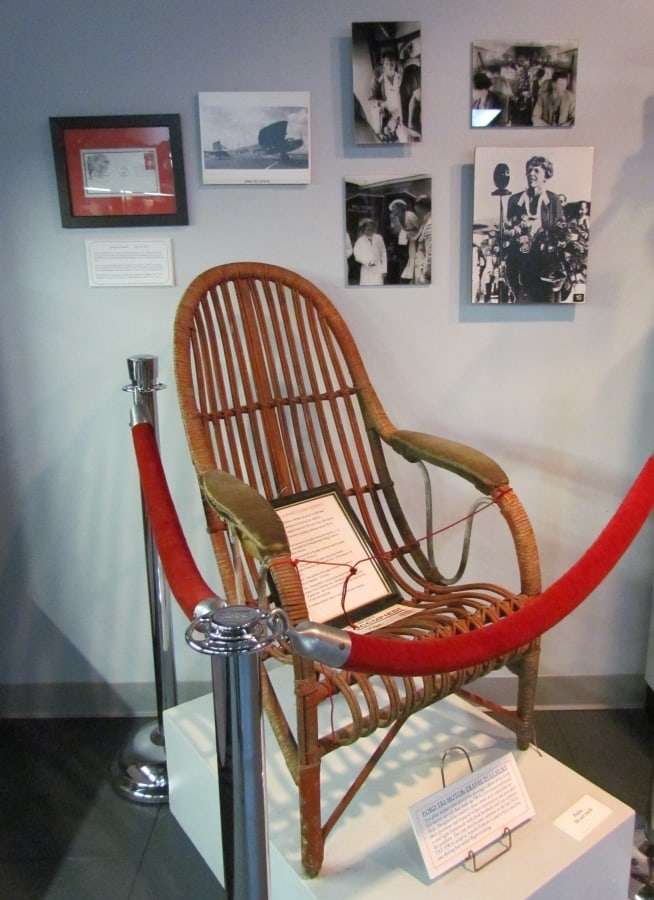 An exhibit highlights the contribution that Amelia Earhart played in the early days of TWA.