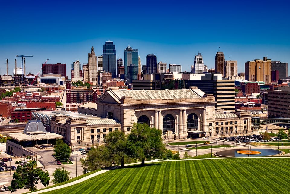 Union Station in Kansas City, Missouri is a beautiful historic railroad station. The building has been completely restored and now serves as an entertainment hub for the metroplitan area.