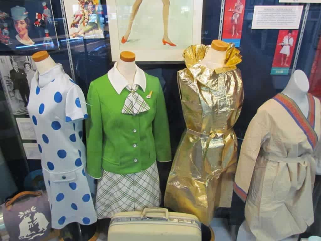 An assortment of flight attendant uniforms.