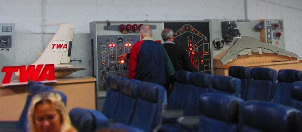 Visitors to the TWA Museum are entertained with hands-on displays that show some of the training tools used by pilots.