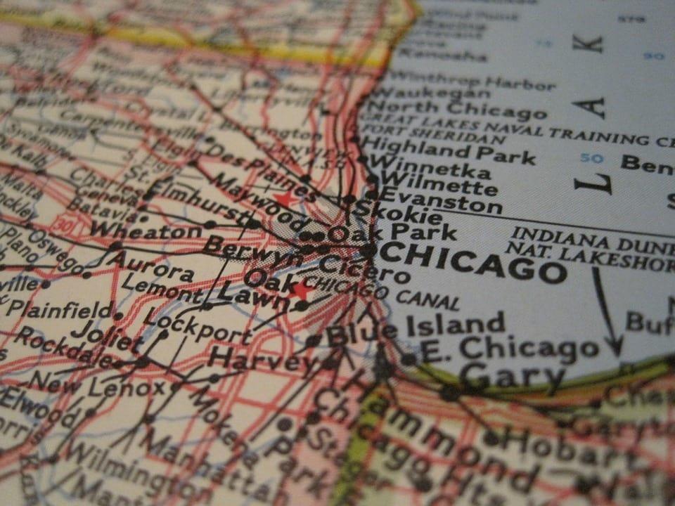 Map of Chicago, Illinois.