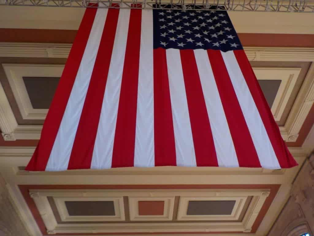 Flag on display at the station.