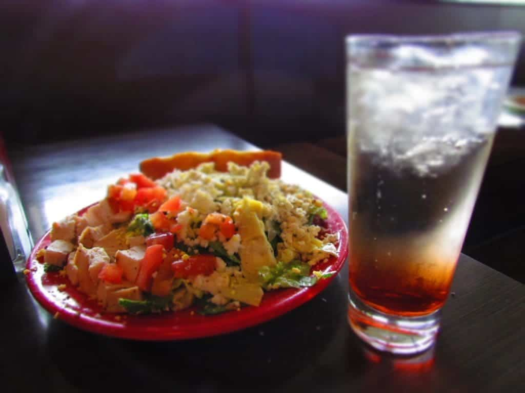 Salad and a refreshing drink.