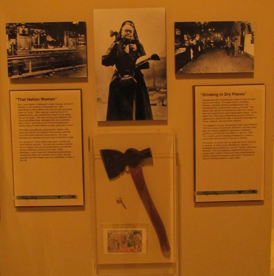 Display on Carrie Nation who resided in Wichita for many years.