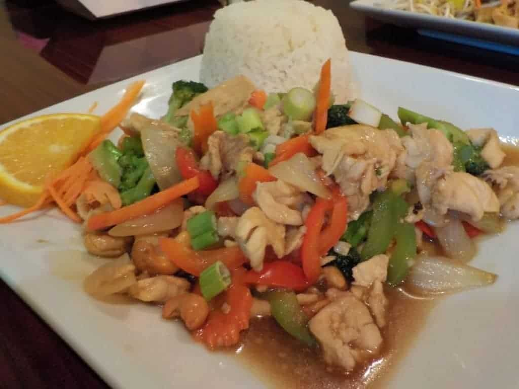 Plate of Cashew Fried Chicken.