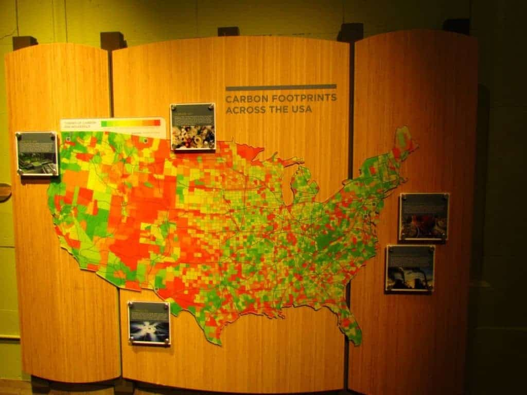 Display shows carbon footprints across the USA.