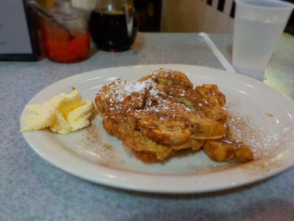 Apple French toast on a plate.