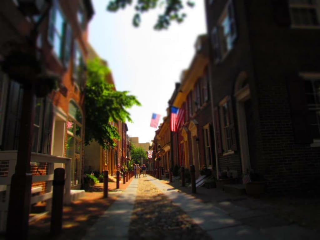 View down Elfreth's Alley in Philadelphia.