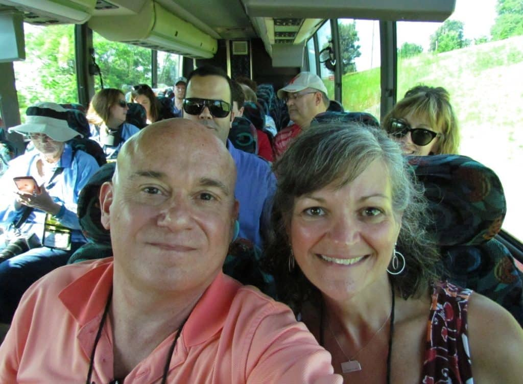 Authors on bus.