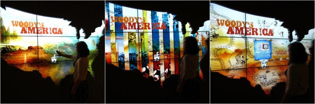 A series of pictures shows the interactive map on Woody's America, where guests can explore the impact that Woody Guthrie had on American culture.