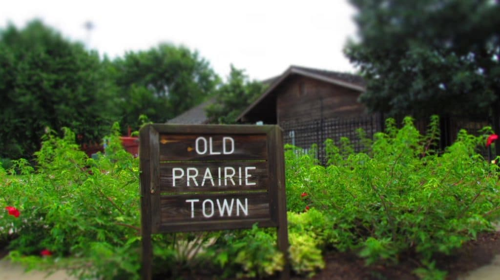 Entrance sign to Old Prairie Town.