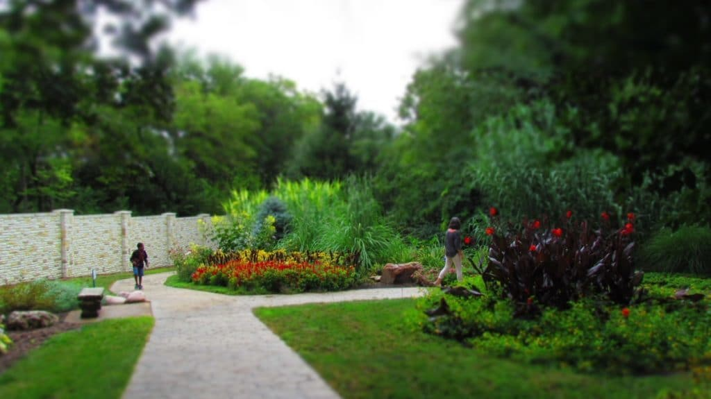Playing hide-and-seek is easier with the over-sized flower beds.