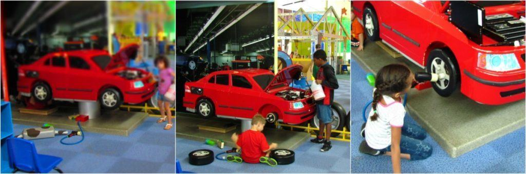 Kids take turn doing auto repair.